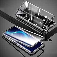 Coque Rebord Bumper Luxe Aluminum Metal Miroir 360 Degres Housse Etui Aimant T02 pour Huawei Honor X10 5G Noir