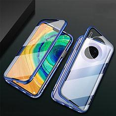 Coque Rebord Bumper Luxe Aluminum Metal Miroir 360 Degres Housse Etui Aimant T02 pour Huawei Mate 30E Pro 5G Bleu