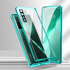 Coque Rebord Bumper Luxe Aluminum Metal Miroir 360 Degres Housse Etui Aimant T02 pour Huawei Nova 7 SE 5G Cyan