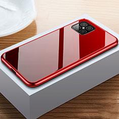 Coque Rebord Bumper Luxe Aluminum Metal Miroir 360 Degres Housse Etui Aimant T02 pour Huawei Nova 8 SE 5G Rouge et Noir