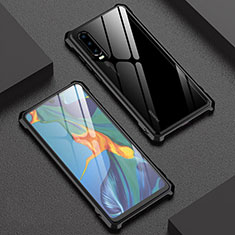 Coque Rebord Bumper Luxe Aluminum Metal Miroir 360 Degres Housse Etui Aimant T02 pour Huawei P30 Noir