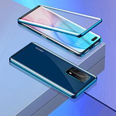 Coque Rebord Bumper Luxe Aluminum Metal Miroir 360 Degres Housse Etui Aimant T02 pour Huawei P40 Pro+ Plus Bleu