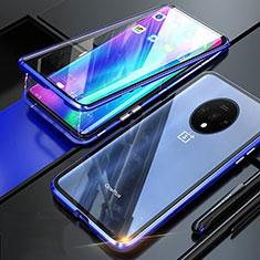 Coque Rebord Bumper Luxe Aluminum Metal Miroir 360 Degres Housse Etui Aimant T02 pour OnePlus 7T Bleu