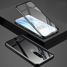 Coque Rebord Bumper Luxe Aluminum Metal Miroir 360 Degres Housse Etui Aimant T02 pour OnePlus 8 Pro Noir