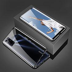 Coque Rebord Bumper Luxe Aluminum Metal Miroir 360 Degres Housse Etui Aimant T02 pour Oppo A92 Noir