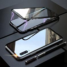Coque Rebord Bumper Luxe Aluminum Metal Miroir 360 Degres Housse Etui Aimant T02 pour Samsung Galaxy A70S Noir