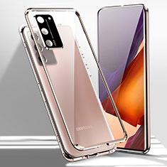 Coque Rebord Bumper Luxe Aluminum Metal Miroir 360 Degres Housse Etui Aimant T02 pour Samsung Galaxy Note 20 5G Bronze