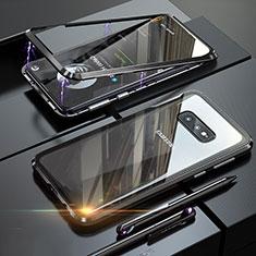 Coque Rebord Bumper Luxe Aluminum Metal Miroir 360 Degres Housse Etui Aimant T02 pour Samsung Galaxy S10e Noir