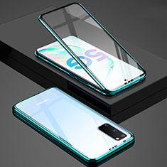 Coque Rebord Bumper Luxe Aluminum Metal Miroir 360 Degres Housse Etui Aimant T02 pour Samsung Galaxy S20 5G Vert
