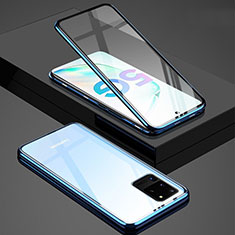 Coque Rebord Bumper Luxe Aluminum Metal Miroir 360 Degres Housse Etui Aimant T02 pour Samsung Galaxy S20 Ultra 5G Bleu