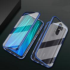 Coque Rebord Bumper Luxe Aluminum Metal Miroir 360 Degres Housse Etui Aimant T02 pour Xiaomi Redmi Note 8 Pro Bleu