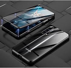 Coque Rebord Bumper Luxe Aluminum Metal Miroir 360 Degres Housse Etui Aimant T03 pour Huawei Honor 20 Pro Noir