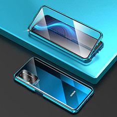 Coque Rebord Bumper Luxe Aluminum Metal Miroir 360 Degres Housse Etui Aimant T03 pour Huawei Honor X10 5G Bleu Ciel