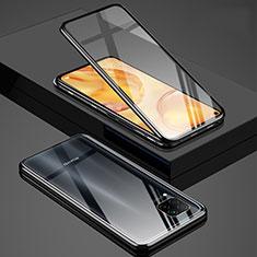 Coque Rebord Bumper Luxe Aluminum Metal Miroir 360 Degres Housse Etui Aimant T03 pour Huawei Nova 6 SE Noir