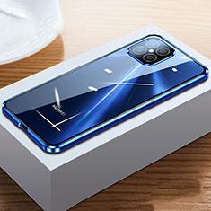Coque Rebord Bumper Luxe Aluminum Metal Miroir 360 Degres Housse Etui Aimant T03 pour Huawei Nova 8 SE 5G Bleu