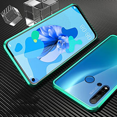 Coque Rebord Bumper Luxe Aluminum Metal Miroir 360 Degres Housse Etui Aimant T03 pour Huawei P20 Lite (2019) Cyan