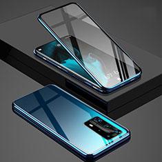 Coque Rebord Bumper Luxe Aluminum Metal Miroir 360 Degres Housse Etui Aimant T03 pour Huawei P40 Pro+ Plus Bleu