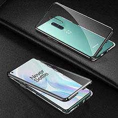 Coque Rebord Bumper Luxe Aluminum Metal Miroir 360 Degres Housse Etui Aimant T03 pour OnePlus 8 Noir