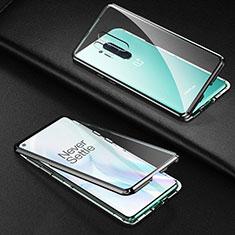 Coque Rebord Bumper Luxe Aluminum Metal Miroir 360 Degres Housse Etui Aimant T03 pour OnePlus 8 Pro Noir