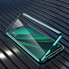 Coque Rebord Bumper Luxe Aluminum Metal Miroir 360 Degres Housse Etui Aimant T03 pour Oppo R17 Pro Vert