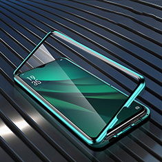 Coque Rebord Bumper Luxe Aluminum Metal Miroir 360 Degres Housse Etui Aimant T03 pour Oppo RX17 Pro Vert