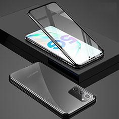 Coque Rebord Bumper Luxe Aluminum Metal Miroir 360 Degres Housse Etui Aimant T03 pour Samsung Galaxy Note 20 5G Noir