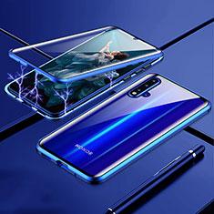 Coque Rebord Bumper Luxe Aluminum Metal Miroir 360 Degres Housse Etui Aimant T04 pour Huawei Nova 5 Bleu