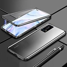 Coque Rebord Bumper Luxe Aluminum Metal Miroir 360 Degres Housse Etui Aimant T04 pour Huawei P40 Pro+ Plus Noir