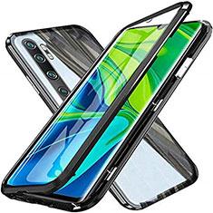 Coque Rebord Bumper Luxe Aluminum Metal Miroir 360 Degres Housse Etui Aimant T04 pour Xiaomi Mi Note 10 Pro Noir