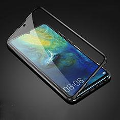 Coque Rebord Bumper Luxe Aluminum Metal Miroir 360 Degres Housse Etui Aimant T05 pour Huawei Mate 20 Noir