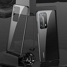 Coque Rebord Bumper Luxe Aluminum Metal Miroir 360 Degres Housse Etui Aimant T05 pour Huawei P40 Pro+ Plus Noir