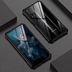 Coque Rebord Bumper Luxe Aluminum Metal Miroir 360 Degres Housse Etui Aimant T06 pour Huawei Honor 20 Noir