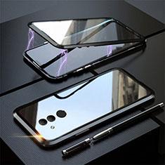 Coque Rebord Bumper Luxe Aluminum Metal Miroir 360 Degres Housse Etui Aimant T06 pour Huawei Mate 20 Lite Noir