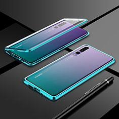 Coque Rebord Bumper Luxe Aluminum Metal Miroir 360 Degres Housse Etui Aimant T06 pour Huawei P20 Pro Vert