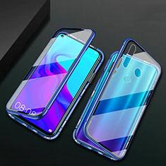 Coque Rebord Bumper Luxe Aluminum Metal Miroir 360 Degres Housse Etui Aimant T06 pour Huawei P30 Lite New Edition Bleu