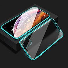 Coque Rebord Bumper Luxe Aluminum Metal Miroir 360 Degres Housse Etui Aimant T08 pour Apple iPhone 11 Cyan