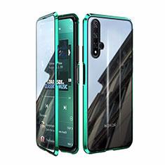 Coque Rebord Bumper Luxe Aluminum Metal Miroir 360 Degres Housse Etui Aimant T08 pour Huawei Honor 20 Vert