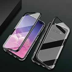 Coque Rebord Bumper Luxe Aluminum Metal Miroir 360 Degres Housse Etui Aimant T08 pour Samsung Galaxy S10 Plus Noir