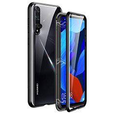 Coque Rebord Bumper Luxe Aluminum Metal Miroir 360 Degres Housse Etui Aimant T11 pour Huawei Honor 20 Noir