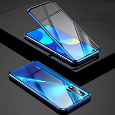 Coque Rebord Bumper Luxe Aluminum Metal Miroir 360 Degres Housse Etui Aimant Z01 pour Huawei Nova 6 5G Bleu