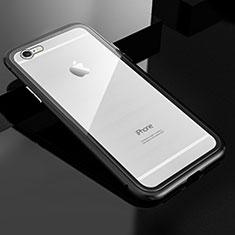 Coque Rebord Bumper Luxe Aluminum Metal Miroir 360 Degres Housse Etui M01 pour Apple iPhone 6S Plus Noir
