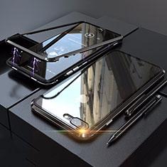 Coque Rebord Bumper Luxe Aluminum Metal Miroir 360 Degres Housse Etui M01 pour Apple iPhone 8 Plus Noir