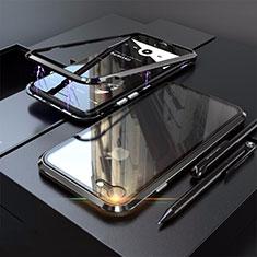 Coque Rebord Bumper Luxe Aluminum Metal Miroir 360 Degres Housse Etui M01 pour Apple iPhone SE (2020) Noir