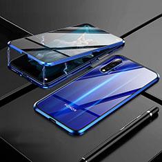 Coque Rebord Bumper Luxe Aluminum Metal Miroir 360 Degres Housse Etui M01 pour Huawei Honor 20 Bleu