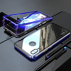 Coque Rebord Bumper Luxe Aluminum Metal Miroir 360 Degres Housse Etui M01 pour Huawei P Smart+ Plus Bleu