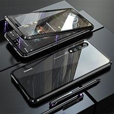 Coque Rebord Bumper Luxe Aluminum Metal Miroir 360 Degres Housse Etui M01 pour Huawei P20 Pro Noir