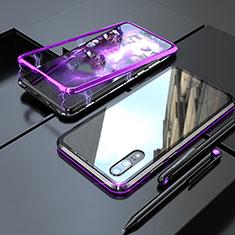 Coque Rebord Bumper Luxe Aluminum Metal Miroir 360 Degres Housse Etui M01 pour Huawei P20 Violet