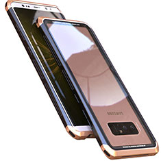 Coque Rebord Bumper Luxe Aluminum Metal Miroir 360 Degres Housse Etui M01 pour Samsung Galaxy Note 8 Duos N950F Or