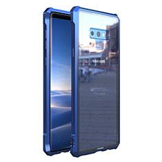 Coque Rebord Bumper Luxe Aluminum Metal Miroir 360 Degres Housse Etui M01 pour Samsung Galaxy Note 9 Bleu