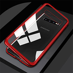 Coque Rebord Bumper Luxe Aluminum Metal Miroir 360 Degres Housse Etui M01 pour Samsung Galaxy S10 5G Rouge